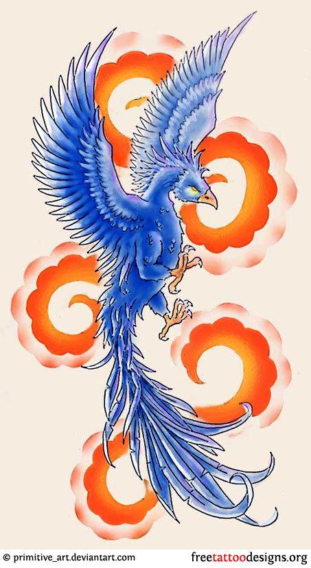 Phoenix and clouds tattoo design