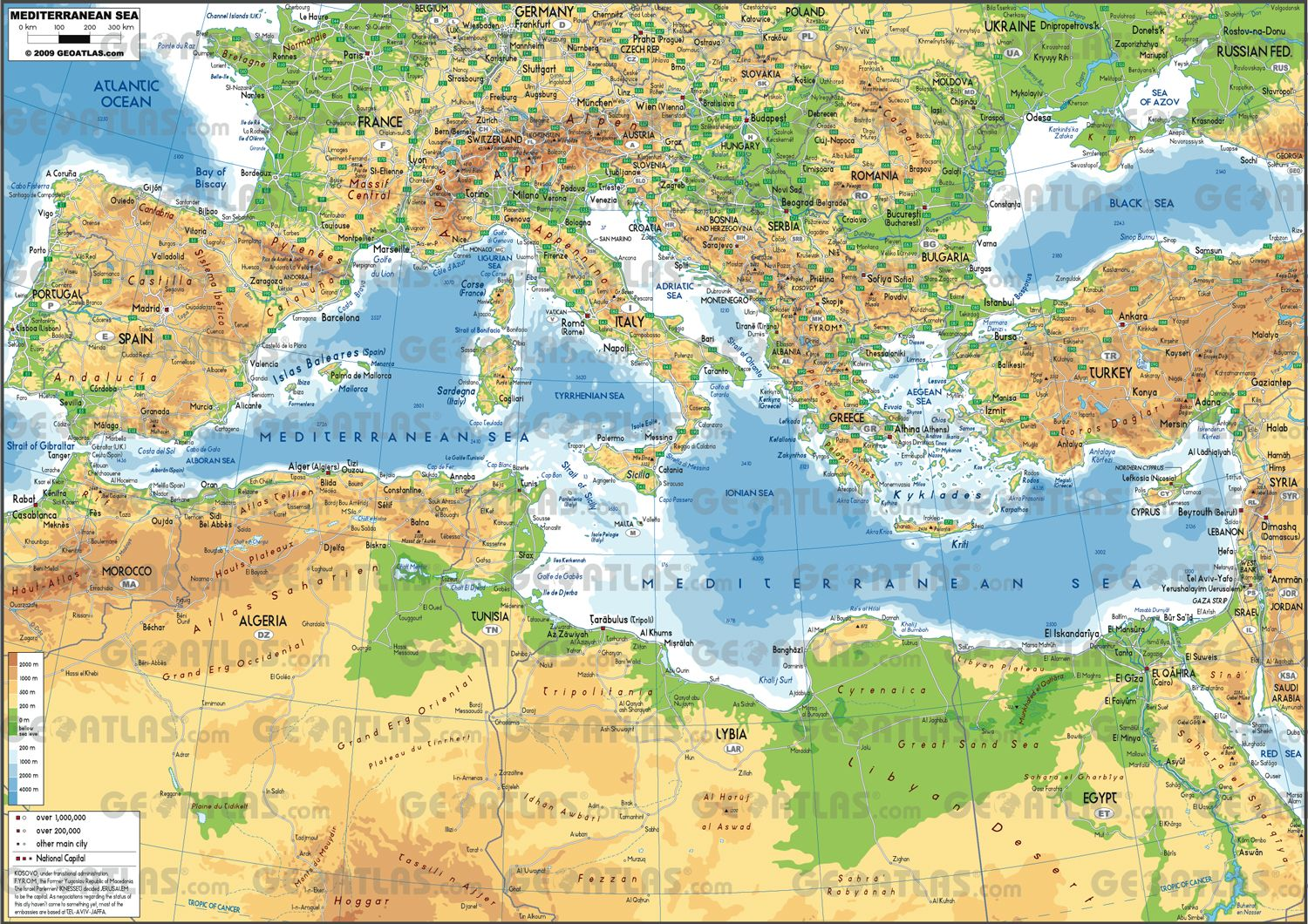 World map of Meditterian how and when Mediterranean Sea