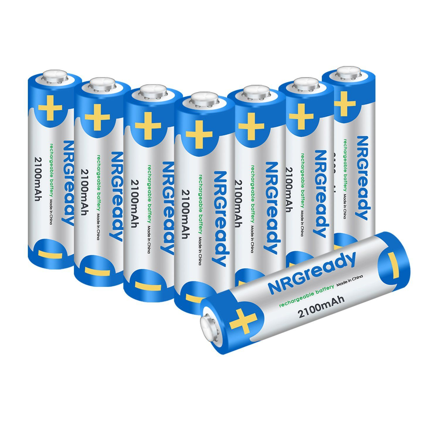 Pile Aa Rechargeable Nrgready Aa 2100mah Rechargeable Batteries High Capacity Ni Mh Pre