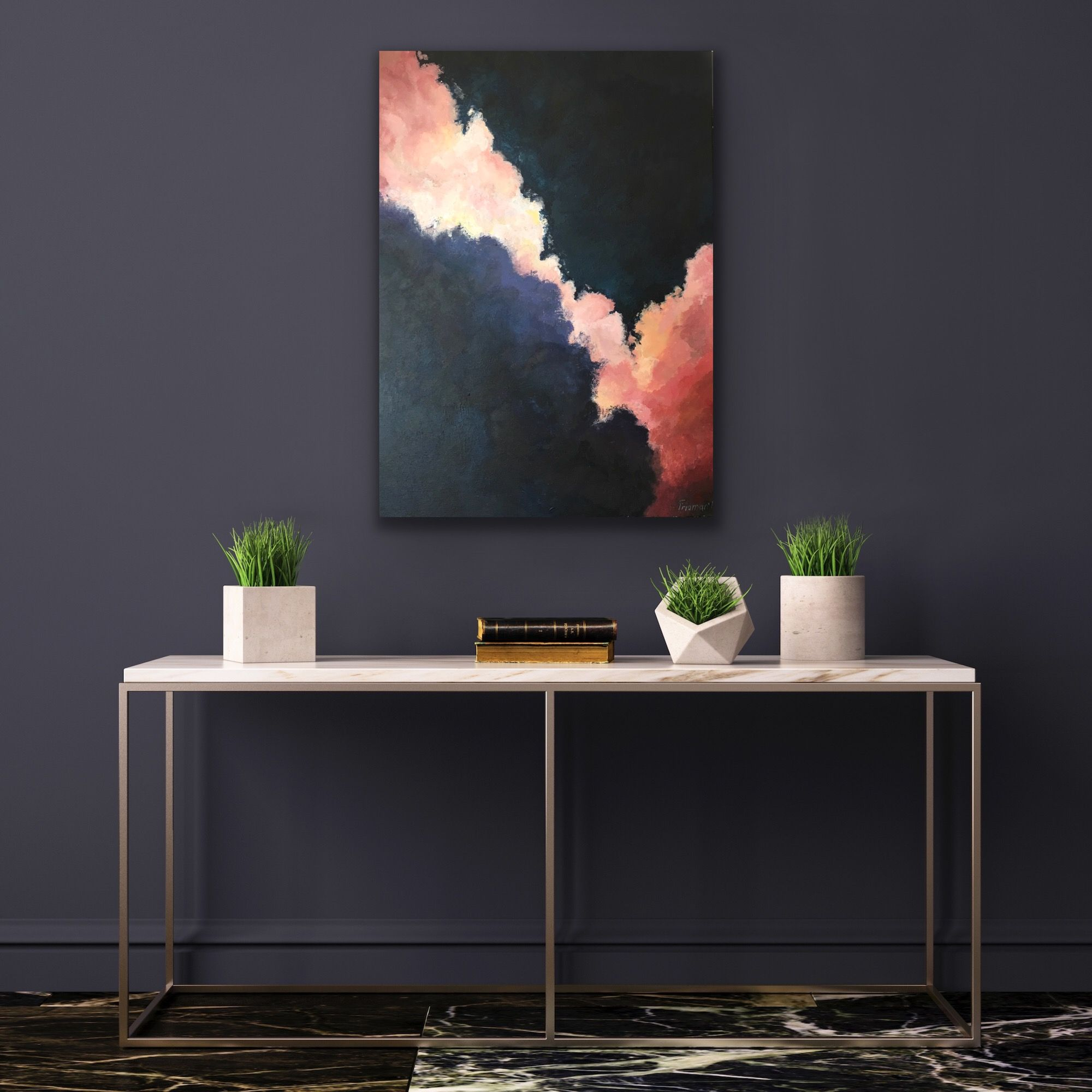 Great Interior Painting Ready To Be Hanged On The Wall 100 Hand Made With High Quality Acrylics On Canvas Abstract Pink And Dark Grey Thundering Sky A Stena