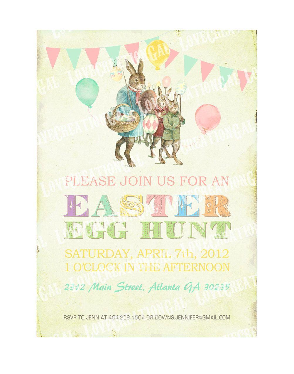 Digital PRINTABLE Vintage Celebrate EASTER Bunny Egg Hunt Birthday Tea Party Boy Girl Children Baby Shower Invitation Cards Sheet IN16. $10.00, via Etsy.