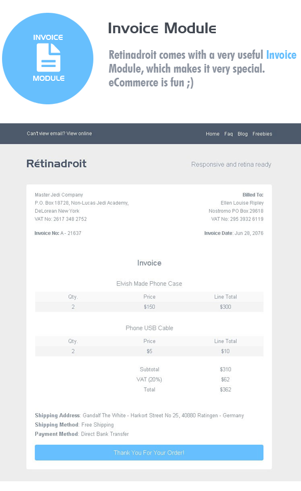 Responsive Email Template Invoice Mailchimp Editor Ready Responsive Email Template Responsive Email Custom Email Template