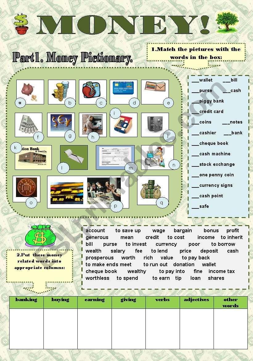 Money Fun Vocabulary Set With Keys Esl Worksheet By Svetamarik Svetlana Vocabulary Reading Comprehension Lessons English Writing Skills