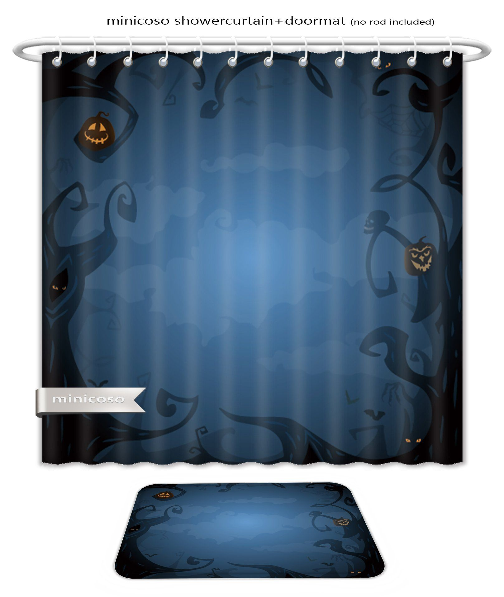 Minicoso Bath Two Piece Suit Shower Curtains And Bath Rugs Dark Blue Halloween Background With Place For Text Trees Clouds Bats Scary B With Images Halloween