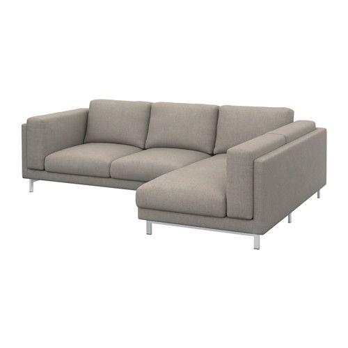 NOCKEBY Bezug 3er-Sofa, rechts mit Récamiere rechts, Tenö hellgrau ...