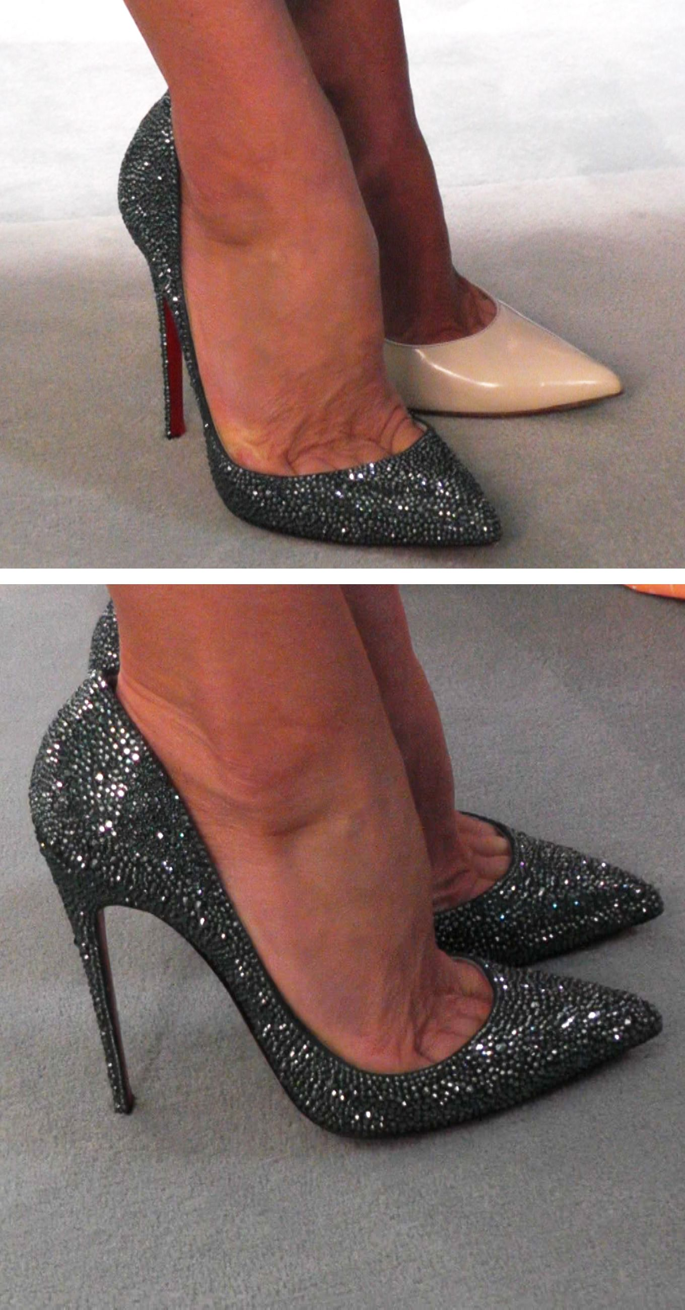 1a9f992dbf27 Kelly RIpa s new Christian Louboutin sparkly heels. LIVE with Kelly and  Michael Fashion Finder.
