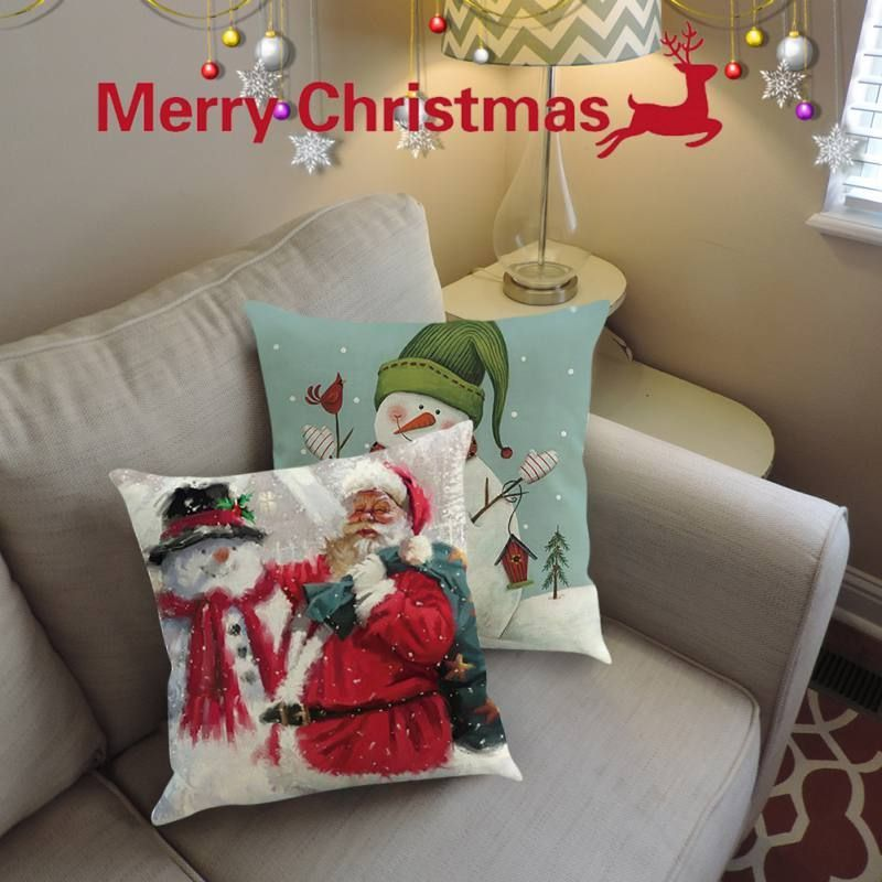 Cheap Offer of Santa Claus Printed Cushion Pillowcase Cotton Linen Square Christ  Cheap Offer of Santa Claus Printed Cushion Pillowcase Cotton Linen Square Christmas Pill...