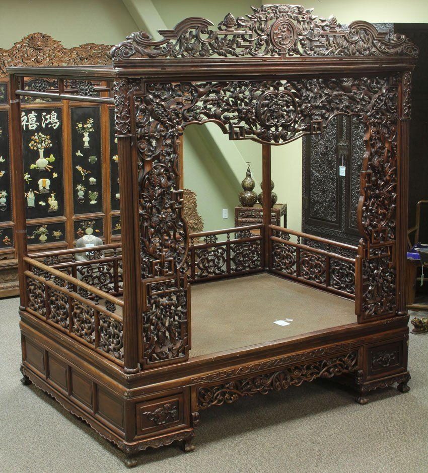 Rosewood Bedroom Furniture 43 Chinese Rosewood Carved Canopy Bed Lot 43 Beds Pinterest