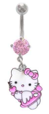 Hot Body Fashion Pink Flower Hello Kitty Cz Head Dangle Belly