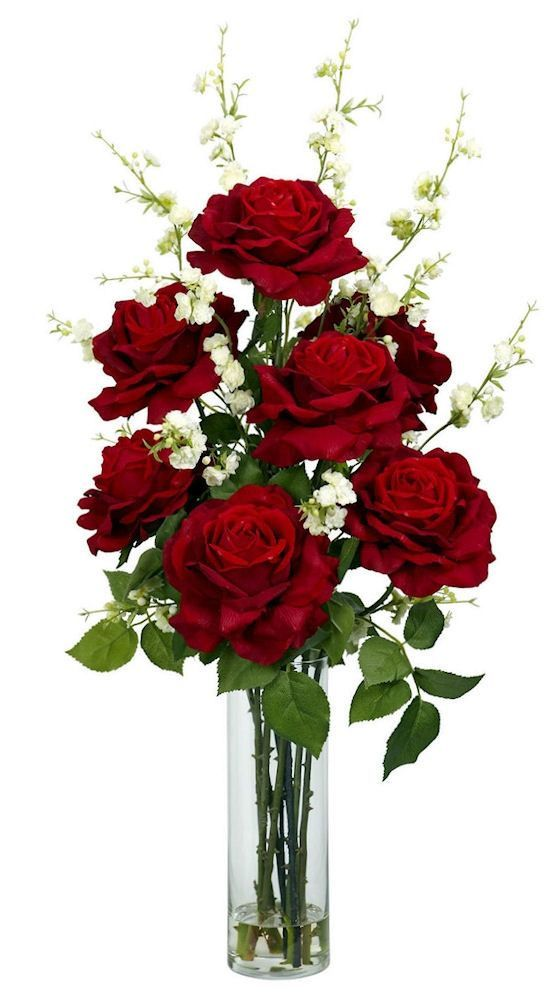 Roses Cherry Blossoms Silk Flowers In Water 29 Inches Rose Flower Arrangements Red Flower Arrangements Fake Flower Arrangements