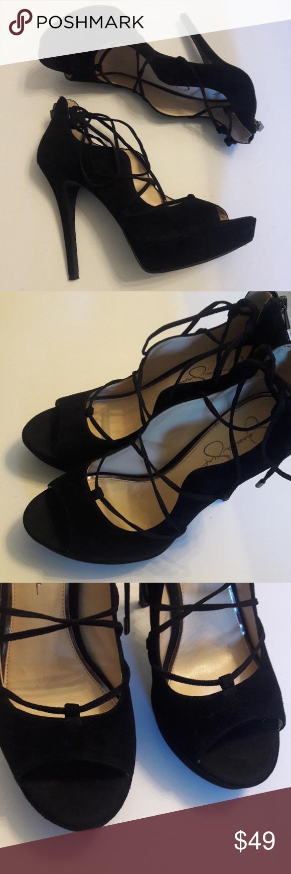 Jessica Simpson/ Black/ Lace Up/ Heels