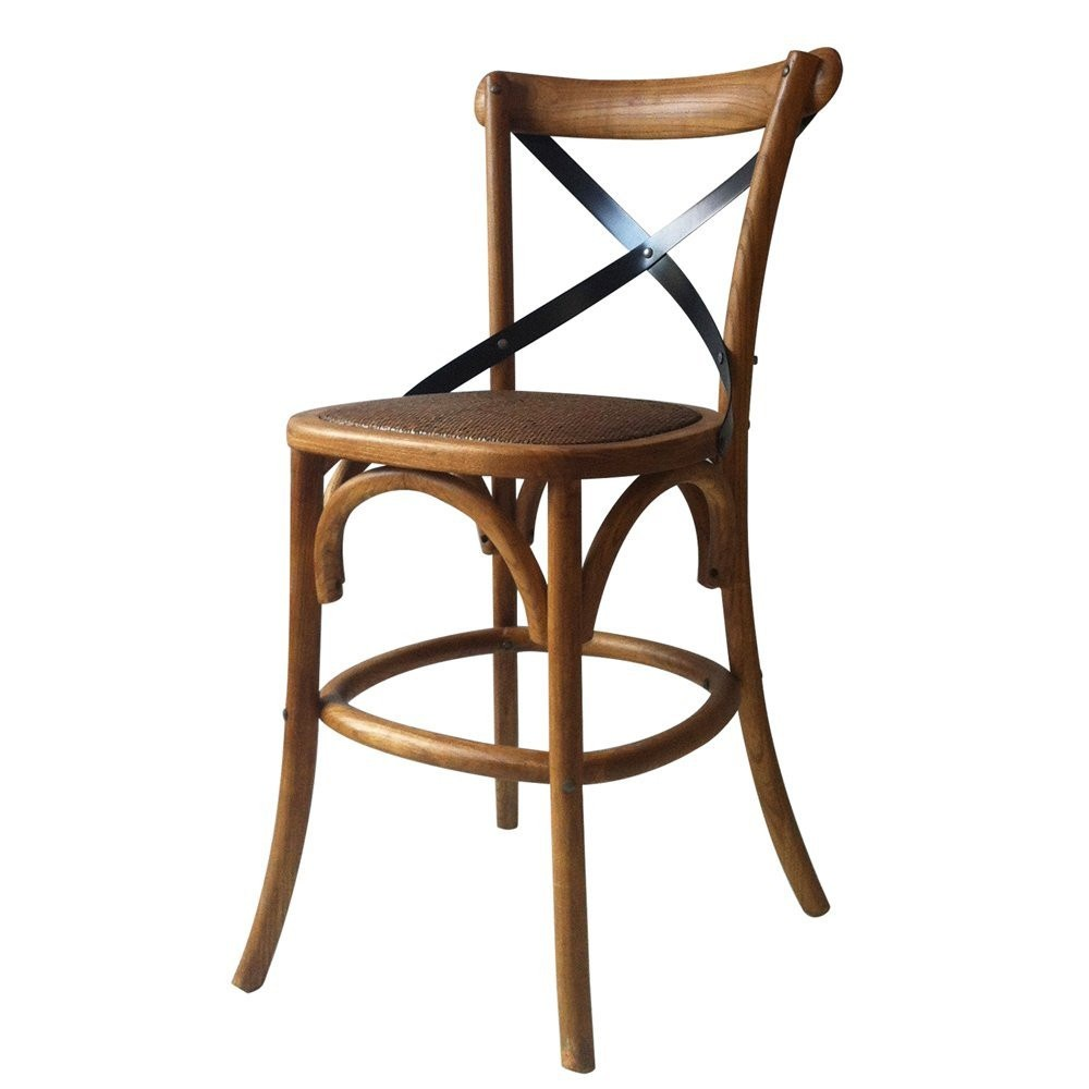 Furnistar Tan Elm Wood Vintage-Style Dining Chair (Single) Seat Height: 28.7 inches. This classic vintage-inspired chair is a lovely accent piece for the dining room or living room. The contrasting X-style backrest and padded woven rattan seat prove you needn't sacrifice comfort for style. With a sturdy four-legged base this chair is practical too. It makes a beautiful addition to any room's decor