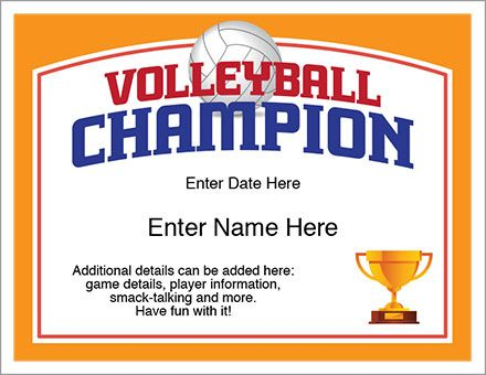 Volleyball champion certificate recognize your players with this volleyball champion certificate recognize your players with this stylish volleyball award certificate personalize yelopaper Image collections