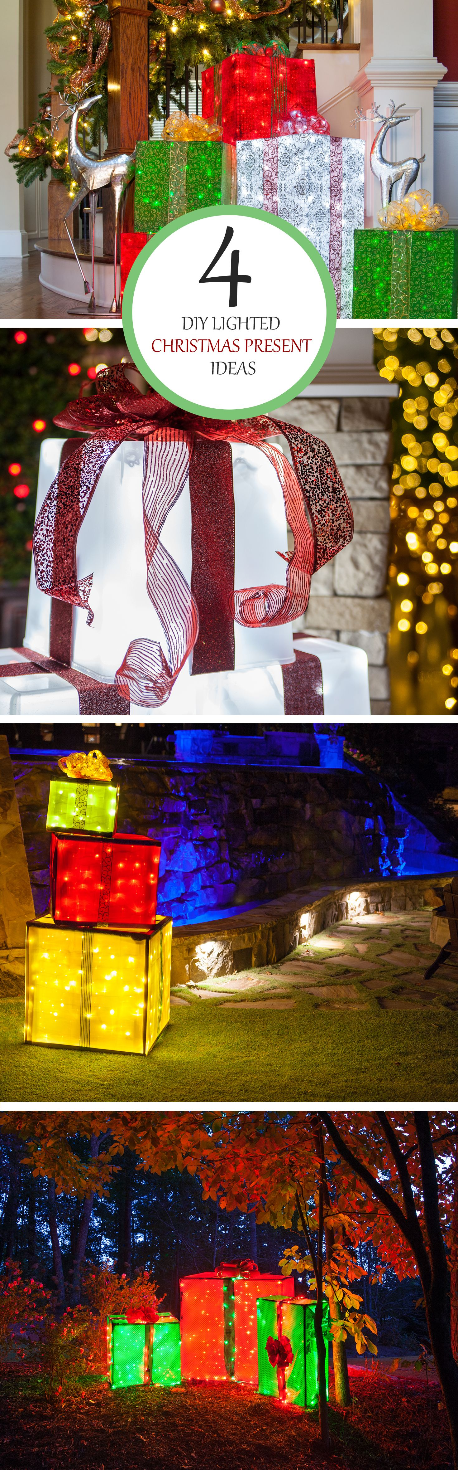 Diy christmas decorations 4 lighted gift boxes outdoor christmas create lighted gift boxes to use as outdoor christmas yard decorations by using basic materials mozeypictures Gallery