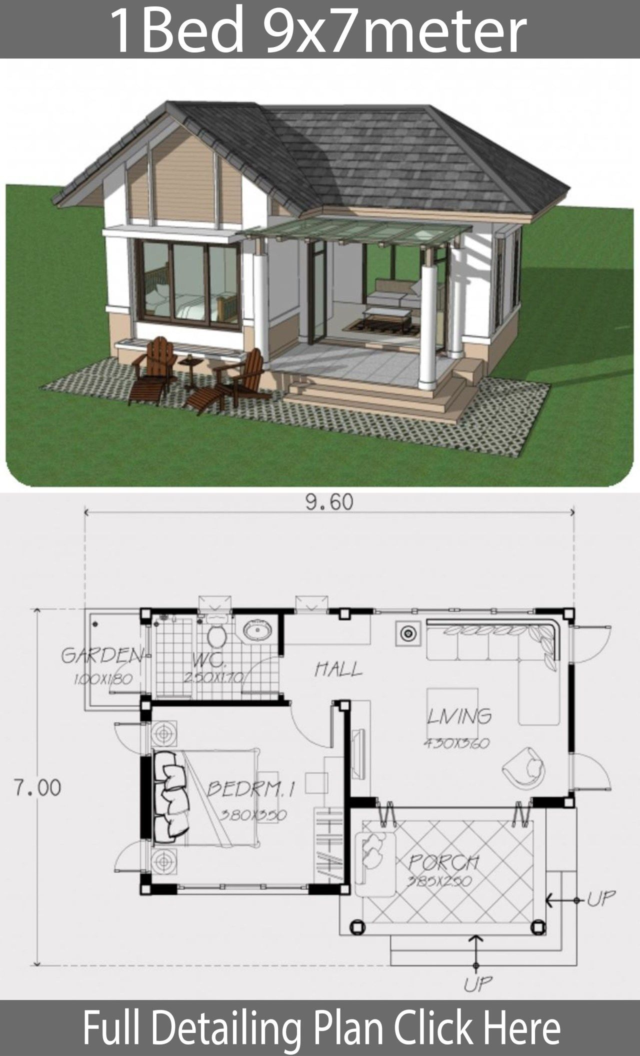 Home Design Plan 9x7m With One Bedroom Bungalow House Design