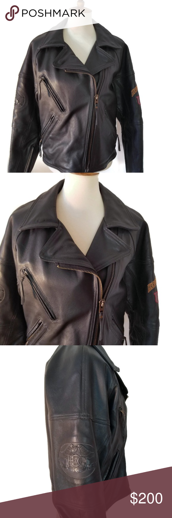 Harley Davidson Small Leather Coat Coats For Women Black Leather Coat Leather Coat [ 1740 x 580 Pixel ]