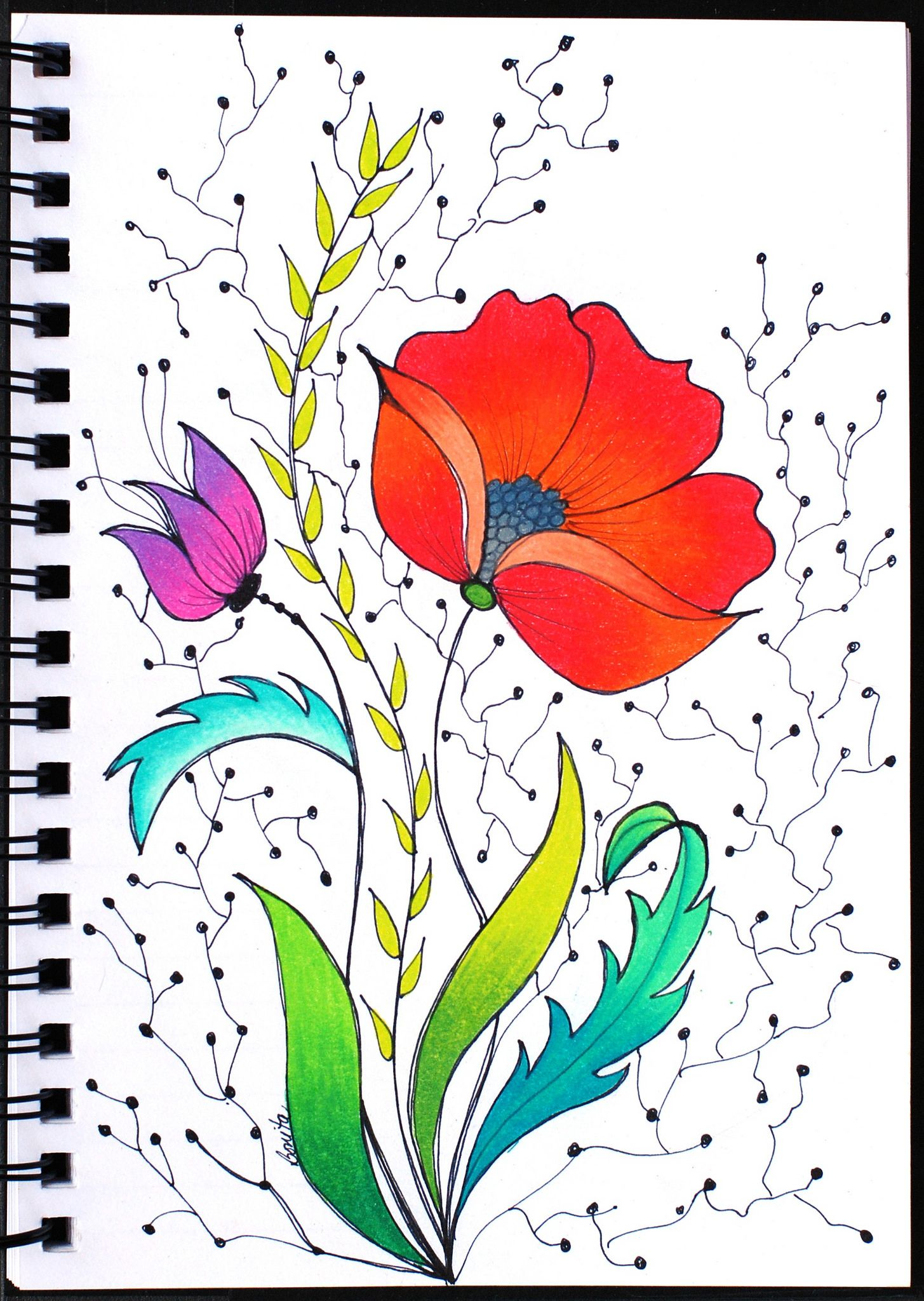 Art Journal - Red Flower Drawing | Floral artwork, Sharpie and Journal