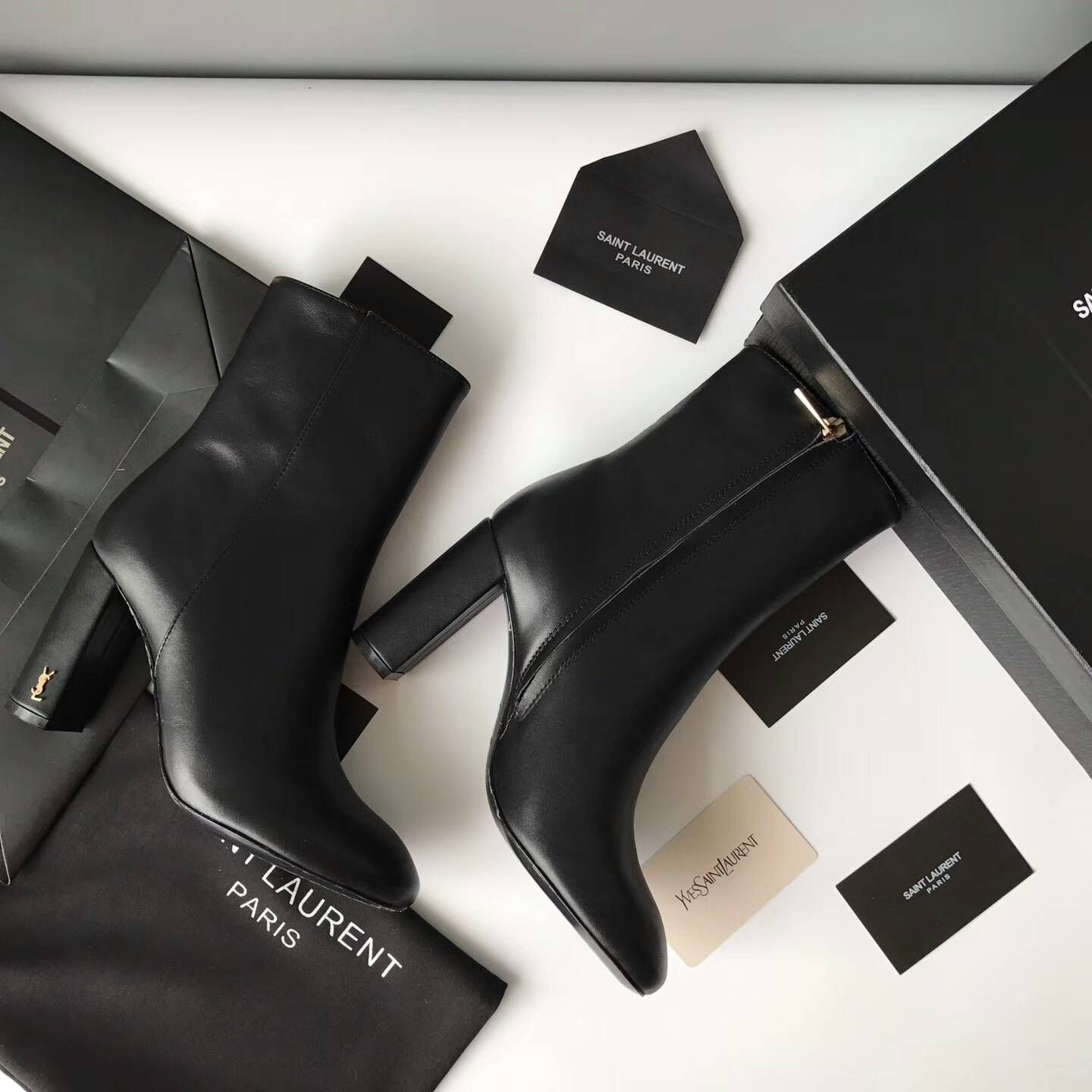 33298703b6 Discount Saint Laurent LOULOU 95 Zipped Ankle Bootie with YSL ...