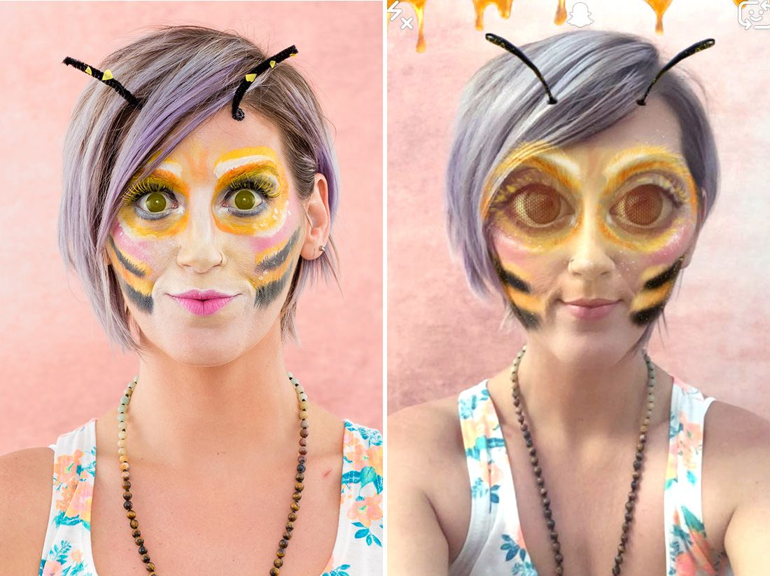 e29df549fe2 Bring the Snapchat bee filter to life with this Halloween makeup tutorial.