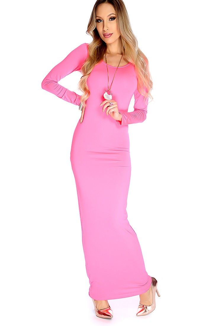 Sexy Hot Pink Long Sleeves Bodycon Maxi Prom Dress | Pinterest