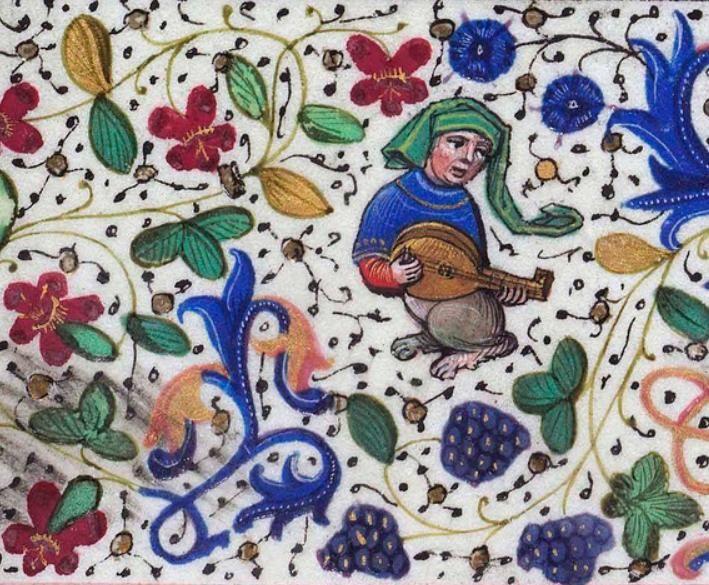 Tañendo la mandolina. Libro de Horas de Leonor de la Vega f. 68v http://bdh-rd.bne.es/viewer.vm?id=0000048889 @BNE_biblioteca