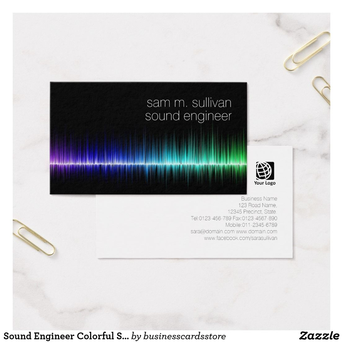 Sound Engineer Colorful Sound Wave Musician Business Card | Sound ...