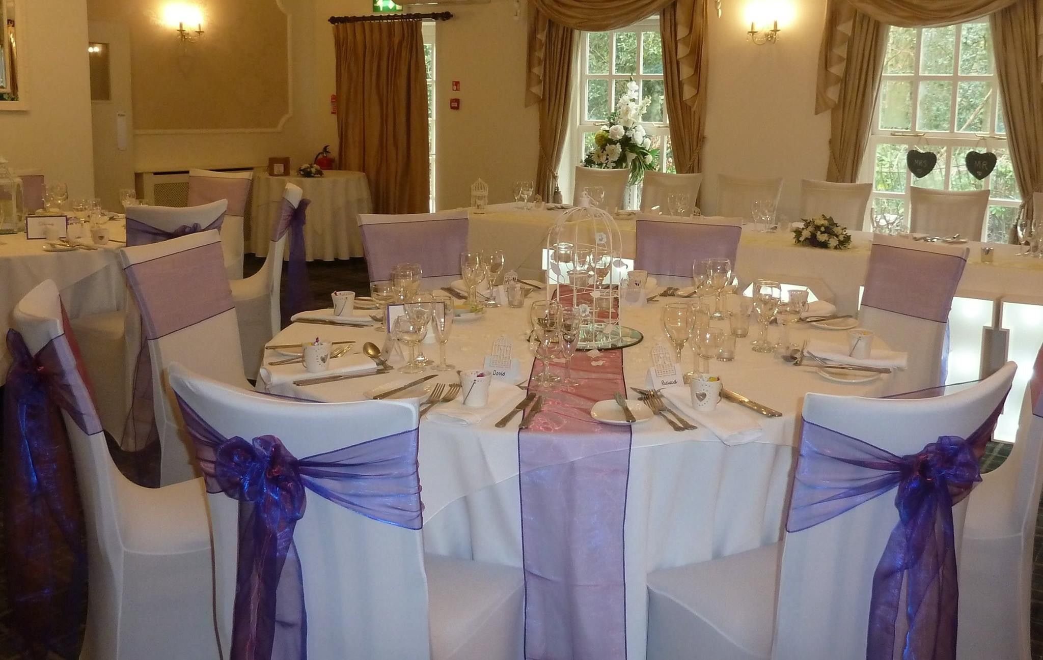 Venue Dressing- Dark Purple organza sashes/table runners.