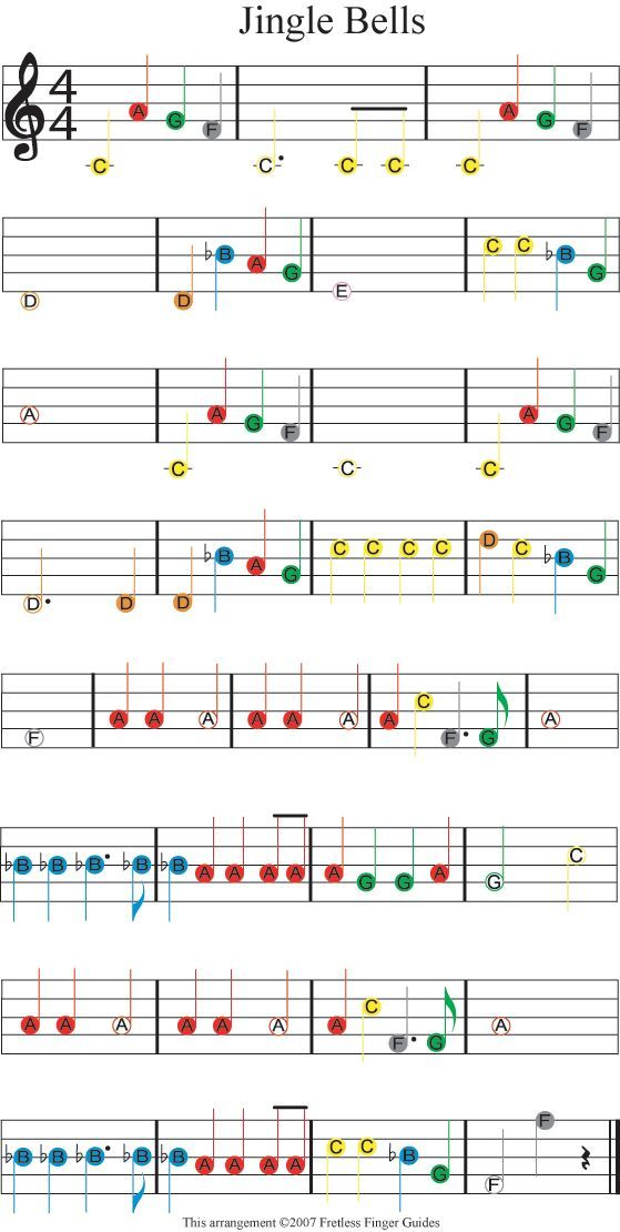 Easy Guitar Christmas Sheet Music | Easy Guitar Songs Color Coded ...