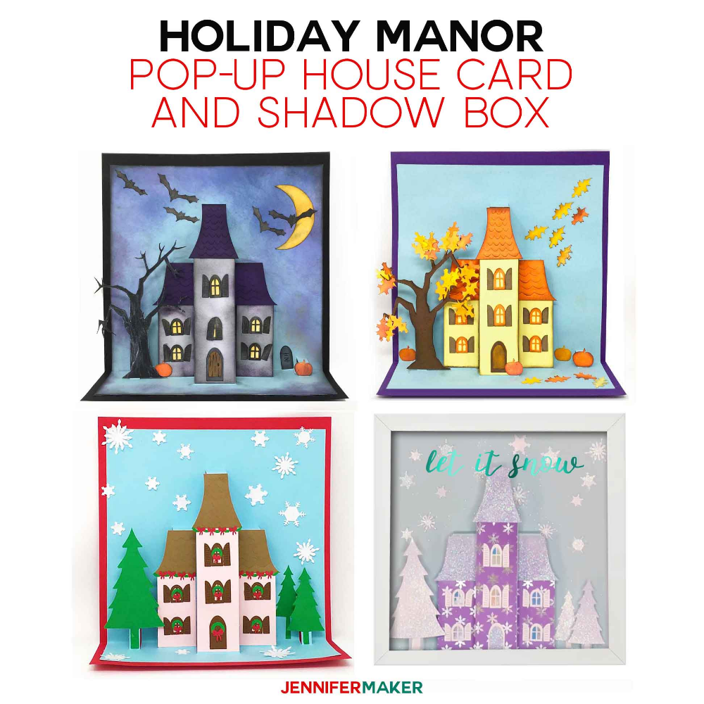 Make Pop Up House Cards For Halloween Autumn And Christmas Jennifer Maker House Of Cards Pop Up Cards Japanese Paper Lanterns