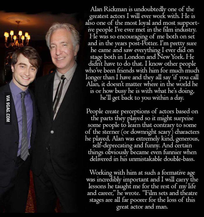 Daniel Radcliffe S Tribute To Alan Rickman Rest In Peace Legend Harry Potter Cast Snape Harry Potter Harry Potter Feels