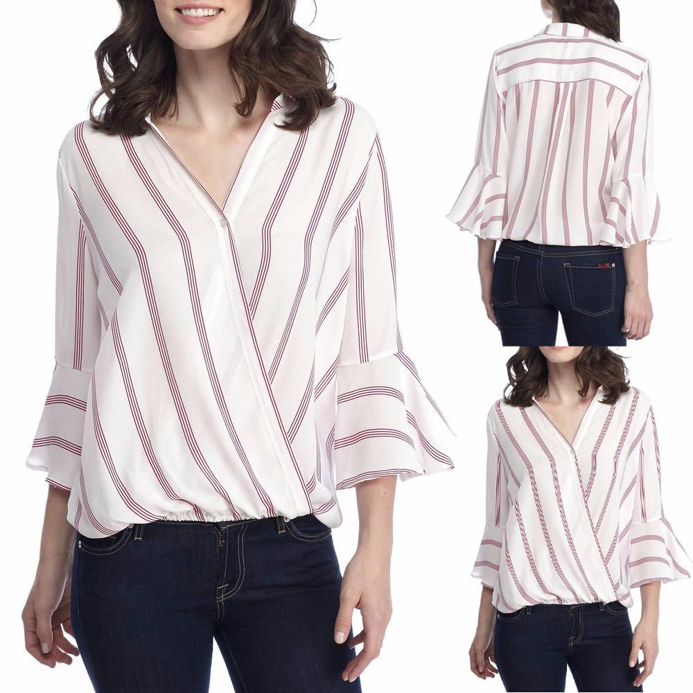 50682a6ec5fc3 Womens Sexy Ladies Casual Striped Shirt Three Quarter Sleeve Top Tank Blouse