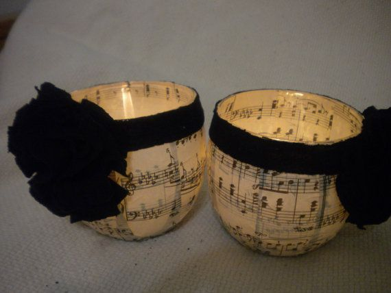 Set of 2 decoupaged sheet music candle holders by SingOn on Etsy