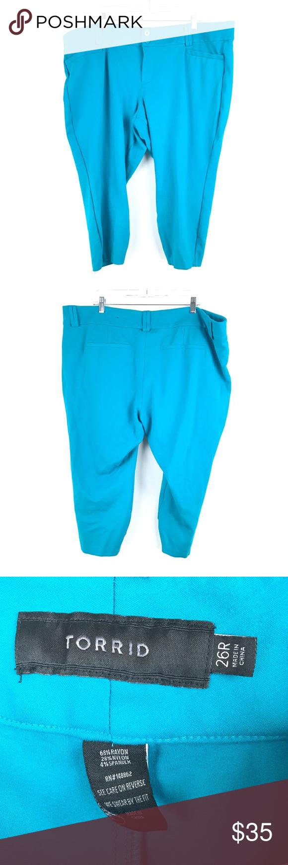 fe7a13ff13d25 Torrid Sz 26 Turquoise Ponte Knit Crop Pants Torrid Women s Plus Size 26 R  Crop Pants