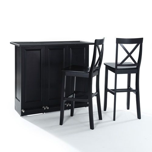Mobile Folding Bar In Black Finish With 30 Inch X Back