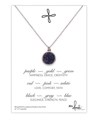 Loving this Blue Druzy Crystal & Silvertone Pendant Necklace on #zulily! #zulilyfinds
