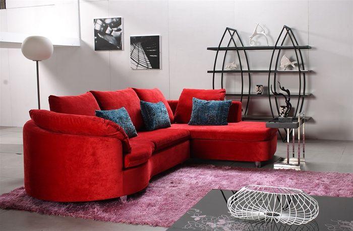 Lila Red Microfiber Sectional Sofa Home Sofas For Living Room