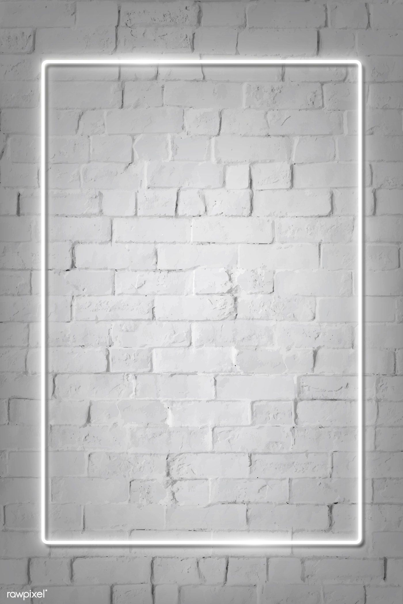 Download Premium Vector Of Rectangle White Neon Frame On A White Brick White Brick Walls Brick Wall Background Neon Wallpaper