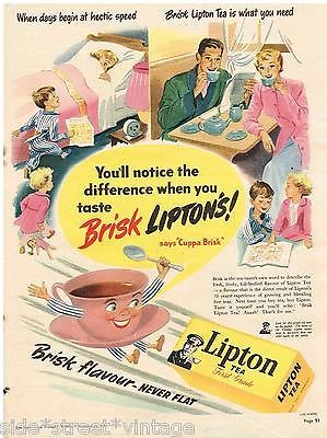 LIPTON'S AD RETRO TEA  PACK ART AUSTRALIAN  Vintage Advertising 1950 Original Ad