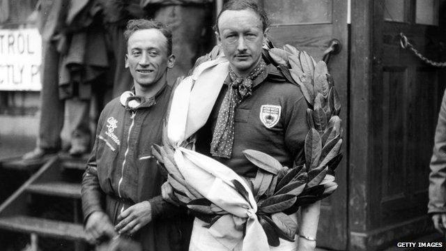 7th June 1931, Irish Grand Prix at Phoenix Park, Dublin, Sir Henry Birkin, right, with mechanic Gaboardi Allessandro, after winning the Grand Prix with an average speed of 88.8mph