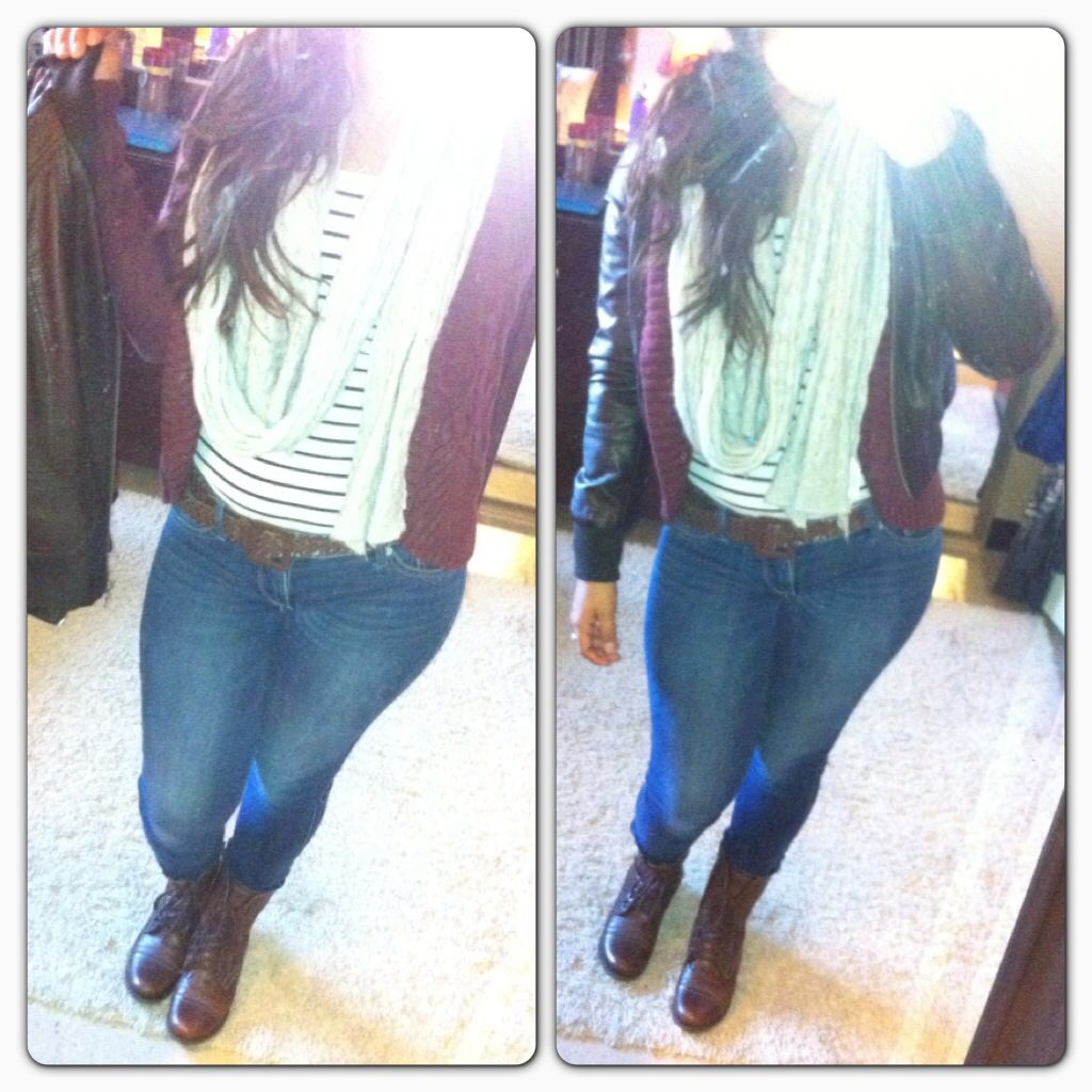 My ootd. Dark brown leather jacket (forever 21), maroon cardigan ...