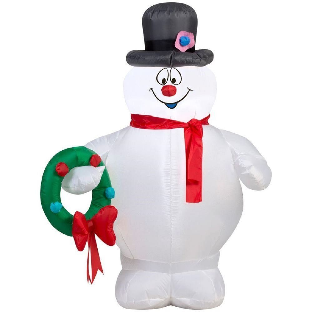 3.5ft Prelit Airblown Snowman Wreath Inflatable Merry Christmas ...