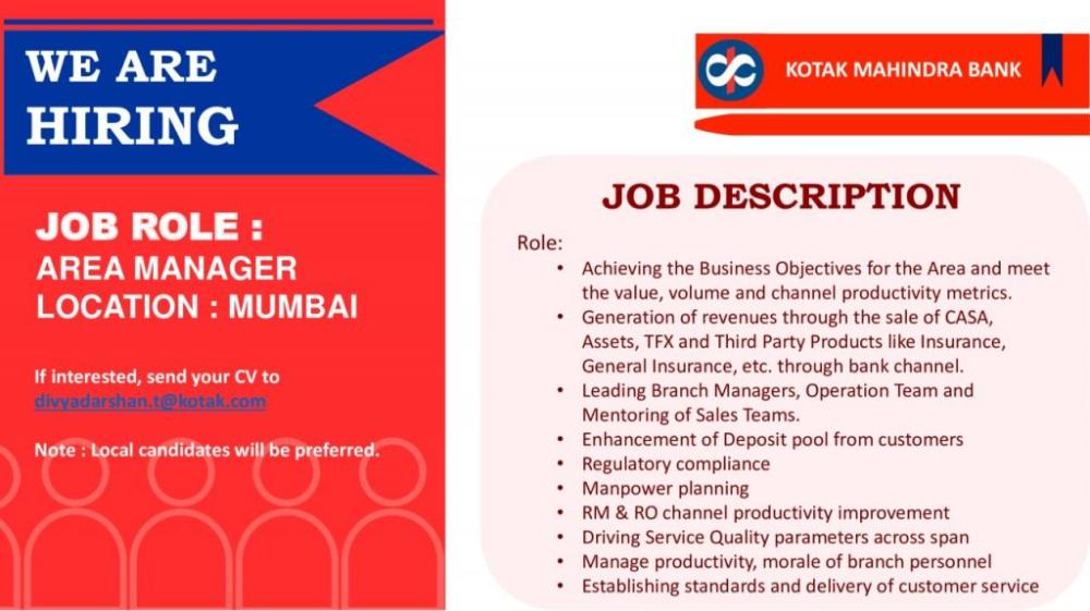 Area Manager Banking Mumbai Job Openings Job Opening Area Manager Management