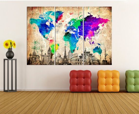 Extra large world map wall art canvas push pin world map art extra large world map wall art canvas push pin world map art travel map modern canvas art modern wall art abstract wall art no7s06 gumiabroncs Image collections
