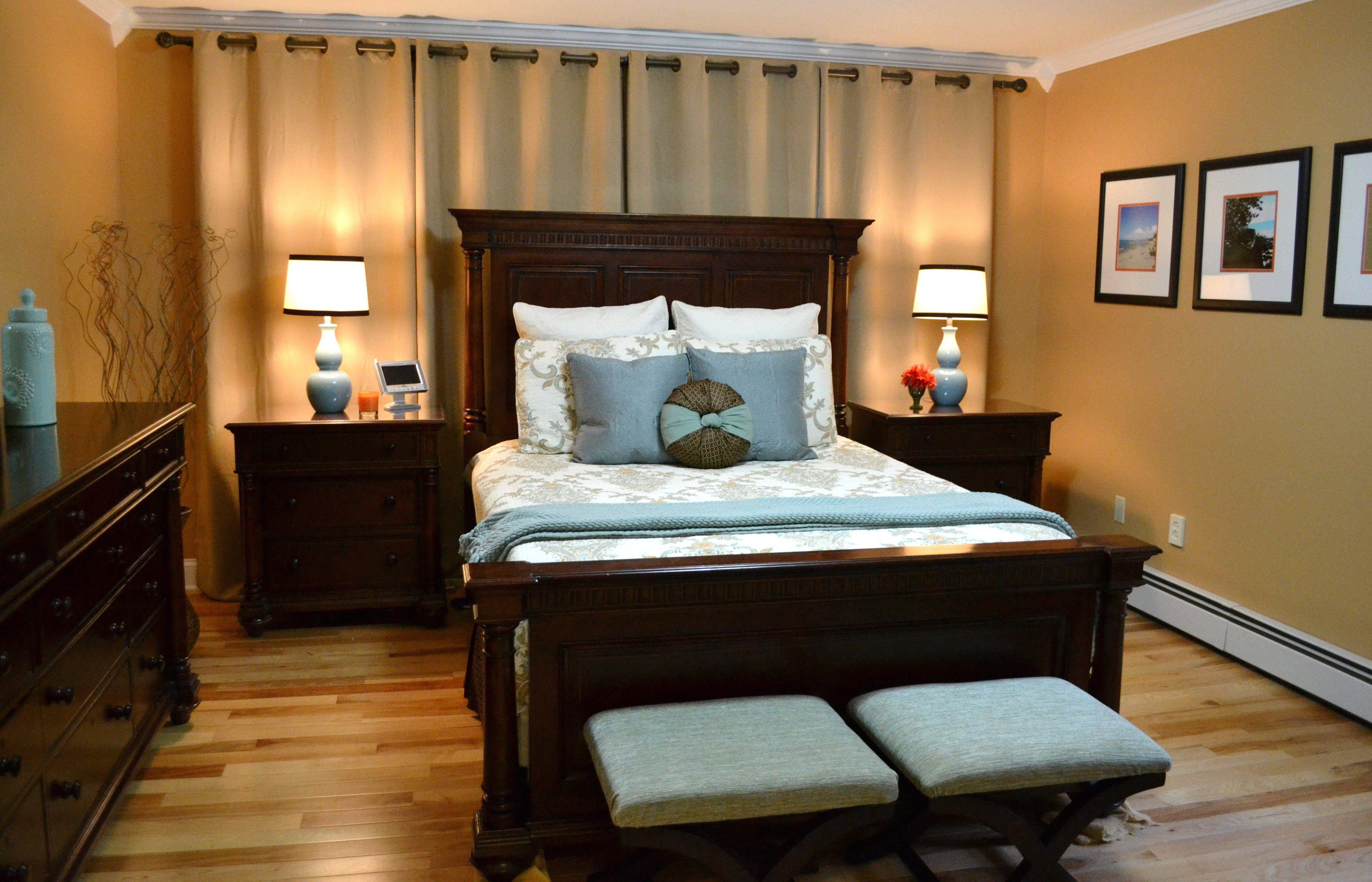 curtains behind bed bedroom design