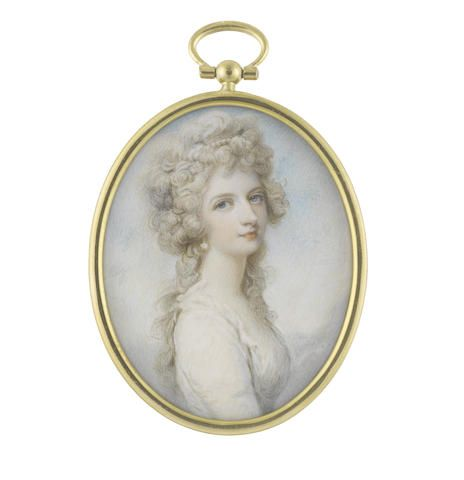 Richard Cosway R.A. (British, 1742-1821) A Lady, wearing white dress with frilled trim to her décolleté, pearl pendant earring, her powdered hair dressed with a strand of pearls and worn à la conseilleur