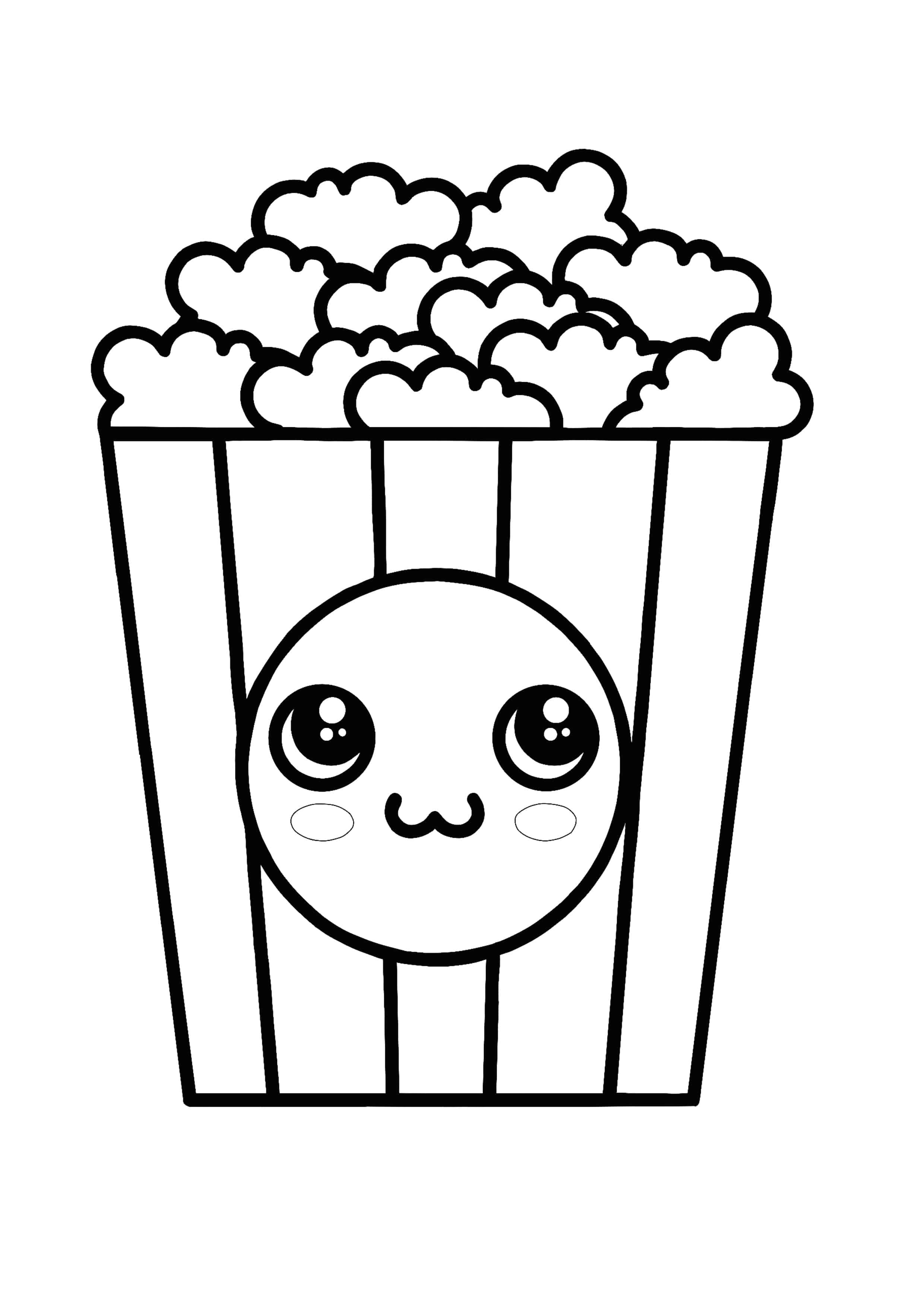 Kawaii Popcorn Coloring Page Coloring Pages Colored Popcorn Free Printable Coloring