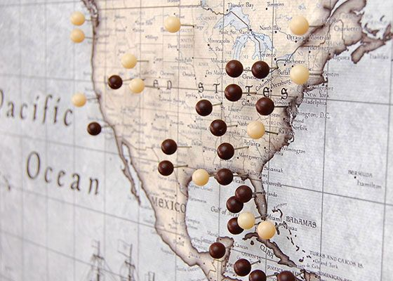 World Travel Map Pin Board wPush Pins Rustic Vintage – Pin Your Travel Map