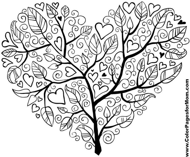 Heart Shaped Tree Tree Coloring Page Printable Stencil