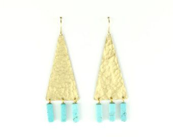 Vida Triangle Earrings - Hammered Brass Earrings with Turquoise Beads