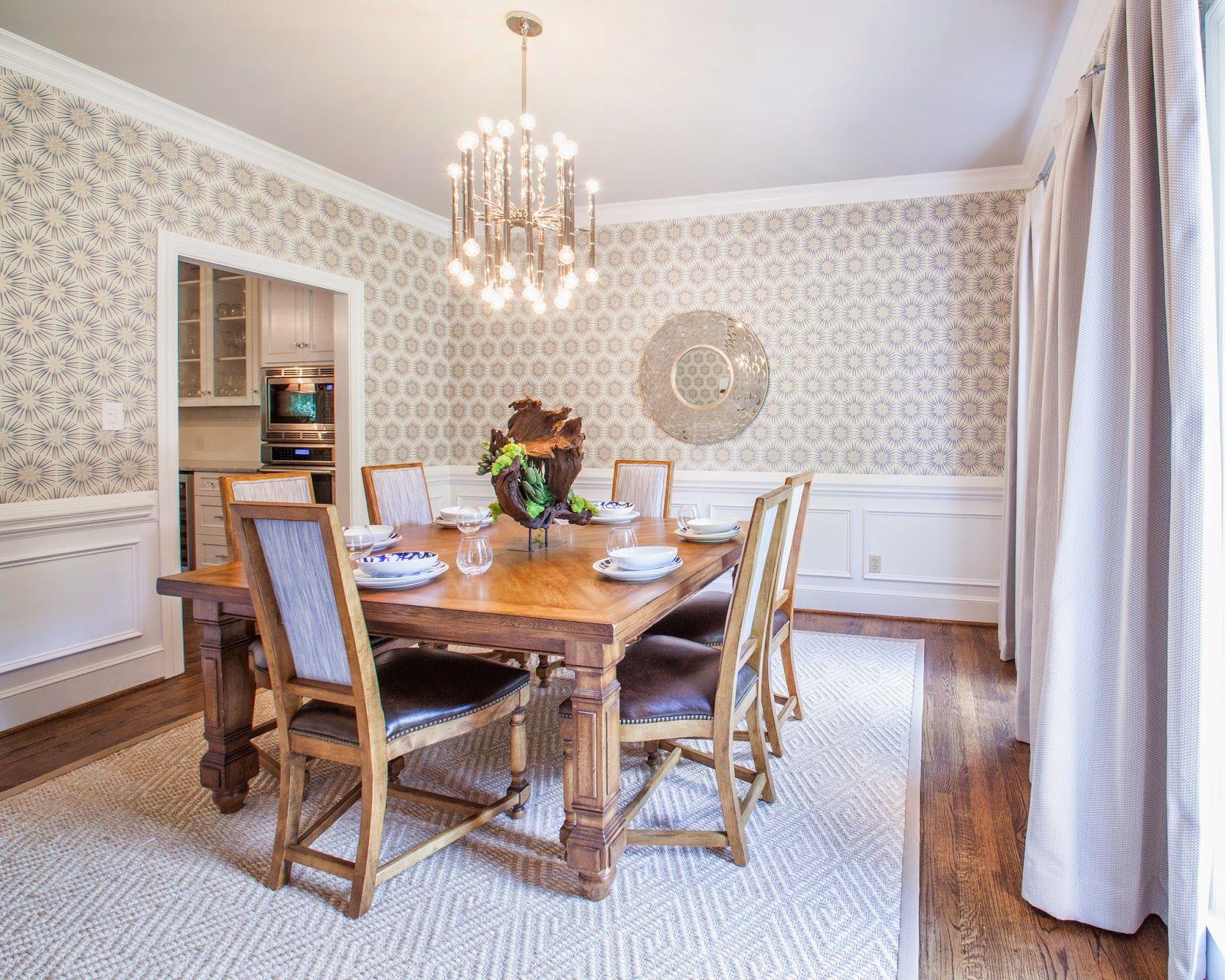 Comedor pared de papel pintado en beige decoracion for Comedor papel pintado